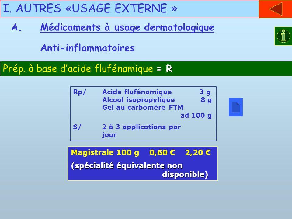 I. AUTRES «USAGE EXTERNE »