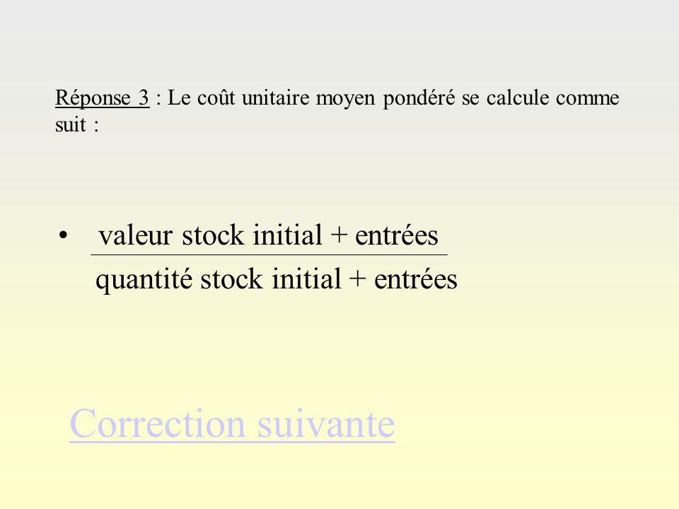 Correction suivante valeur stock initial + entrées