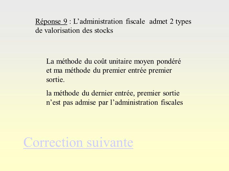 Correction suivante Réponse 9 : L'administration fiscale admet 2 types