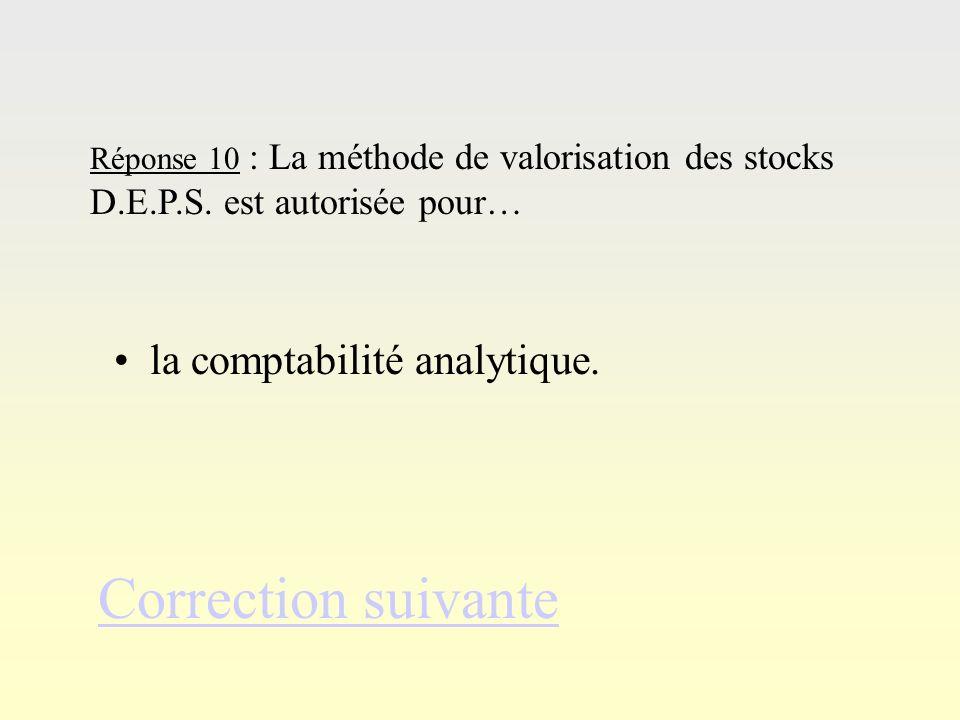Correction suivante la comptabilité analytique.