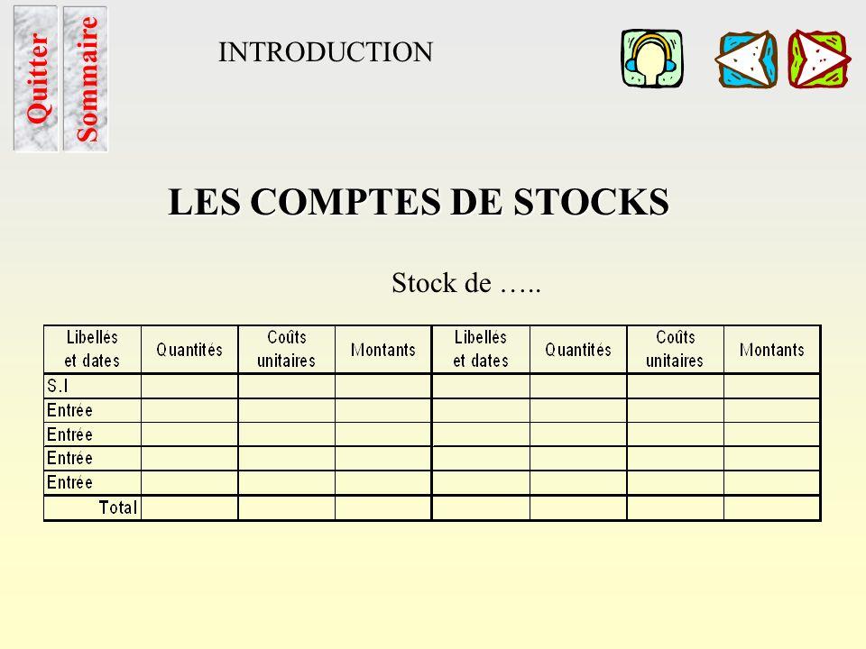 LES COMPTES DE STOCKS INTRODUCTION Sommaire Quitter