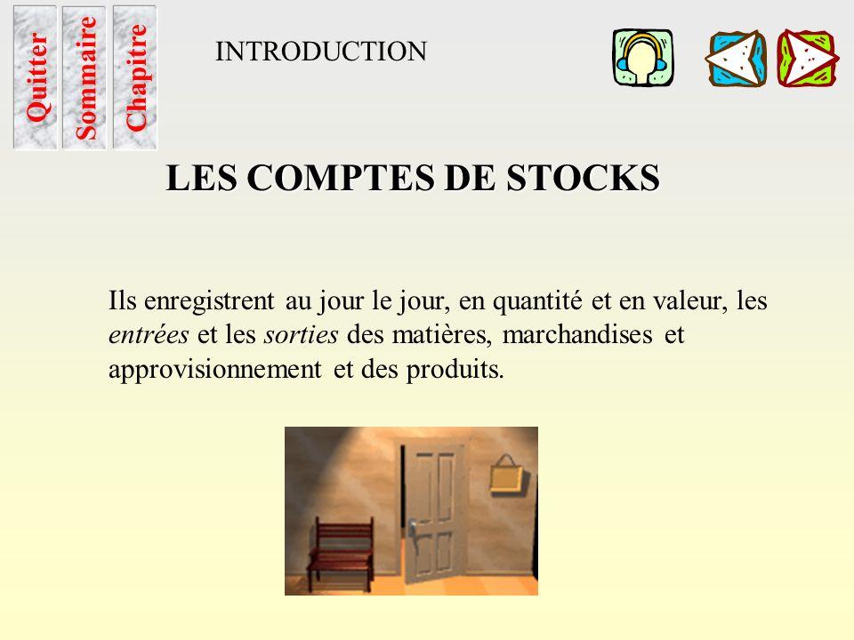 LES COMPTES DE STOCKS INTRODUCTION Sommaire Chapitre Quitter