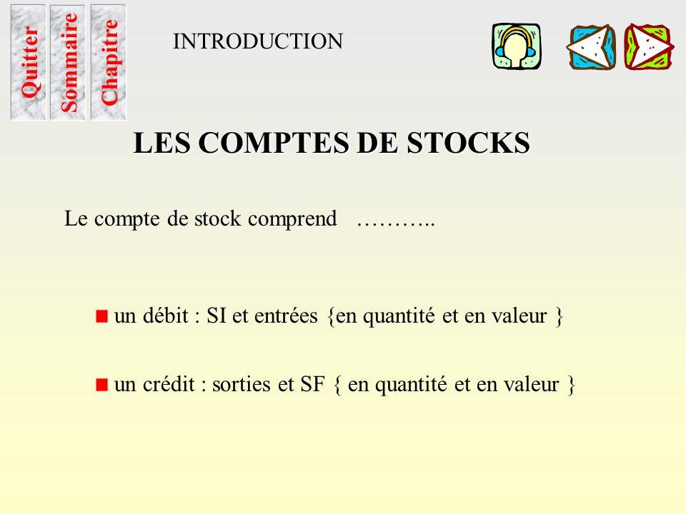 LES COMPTES DE STOCKS INTRODUCTION Quitter Sommaire Chapitre