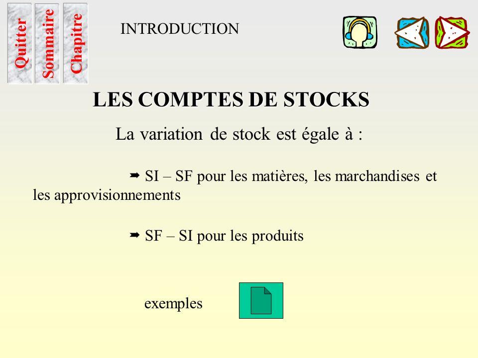 La variation de stock est égale à :