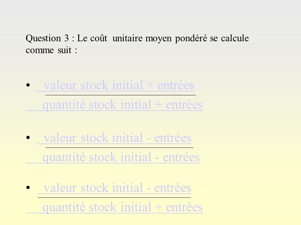valeur stock initial + entrées quantité stock initial + entrées