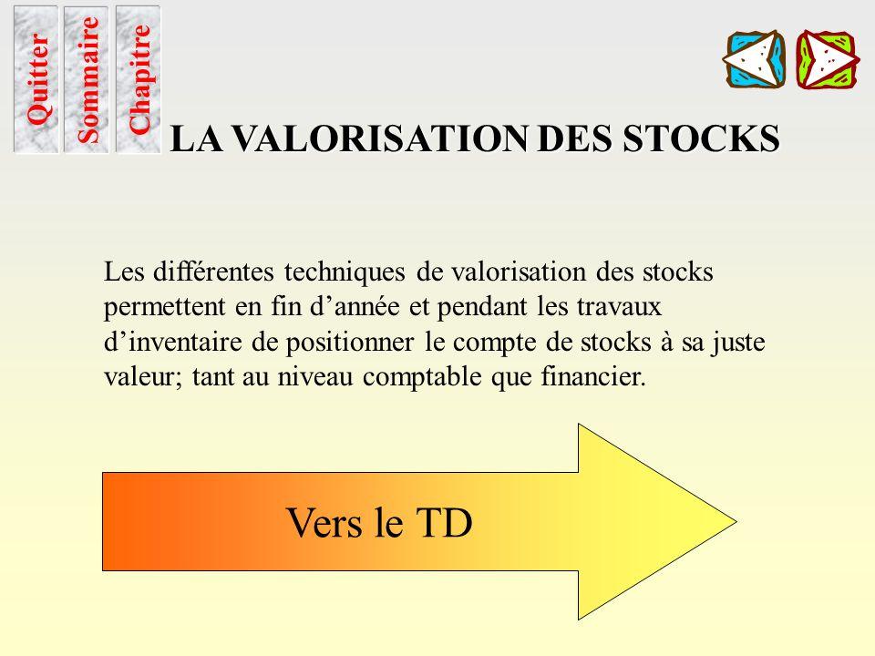 Vers le TD LA VALORISATION DES STOCKS Sommaire Chapitre Quitter