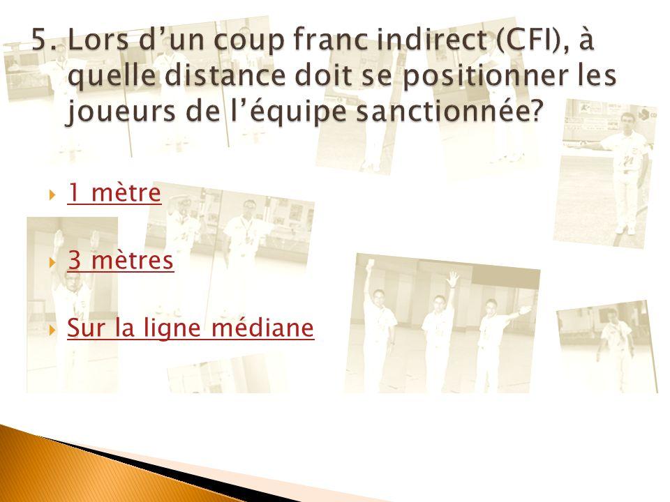 5. Lors d'un coup franc indirect (CFI), à quelle distance doit se positionner les joueurs de l'équipe sanctionnée