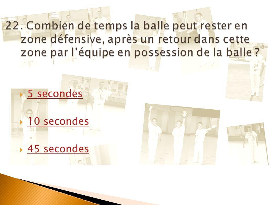 22. Combien de temps la balle peut rester en zone défensive, après un retour dans cette zone par l'équipe en possession de la balle