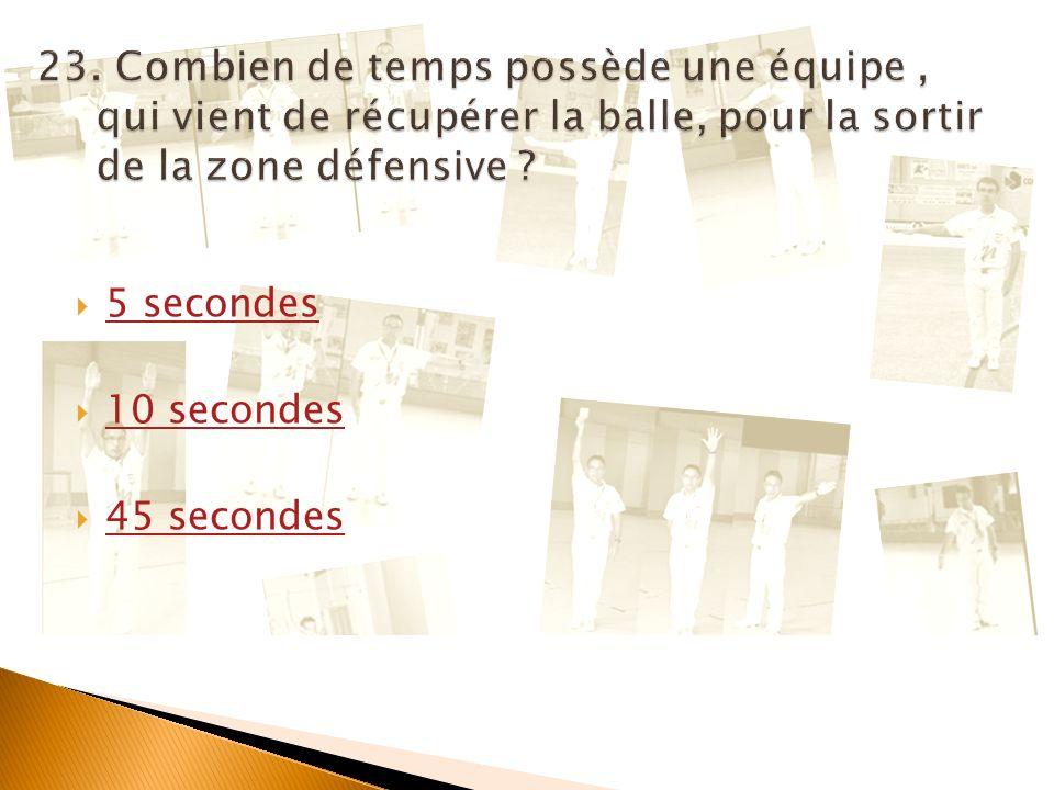 23. Combien de temps possède une équipe , qui vient de récupérer la balle, pour la sortir de la zone défensive