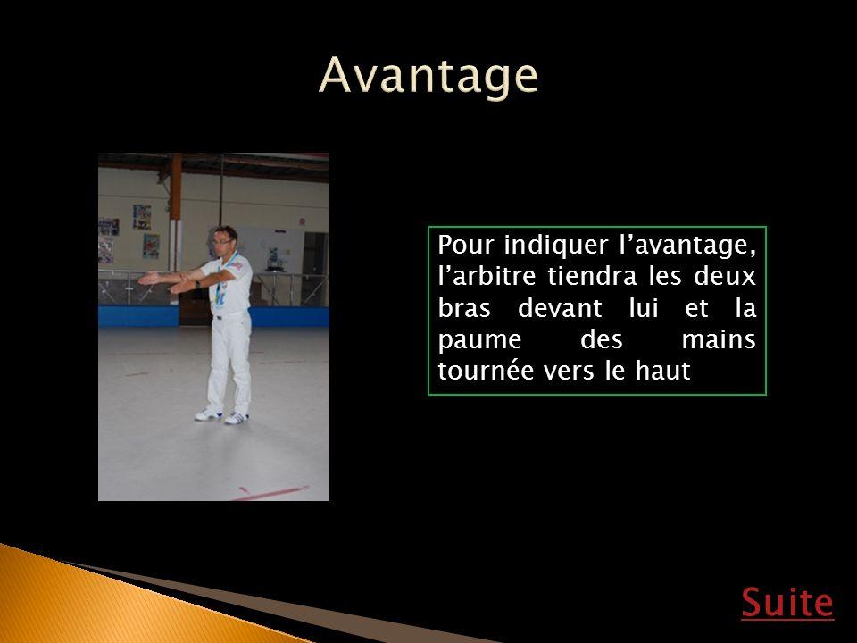 Avantage Pour indiquer l'avantage, l'arbitre tiendra les deux bras devant lui et la paume des mains tournée vers le haut.