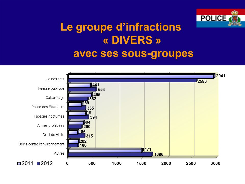 Le groupe d'infractions « DIVERS » avec ses sous-groupes