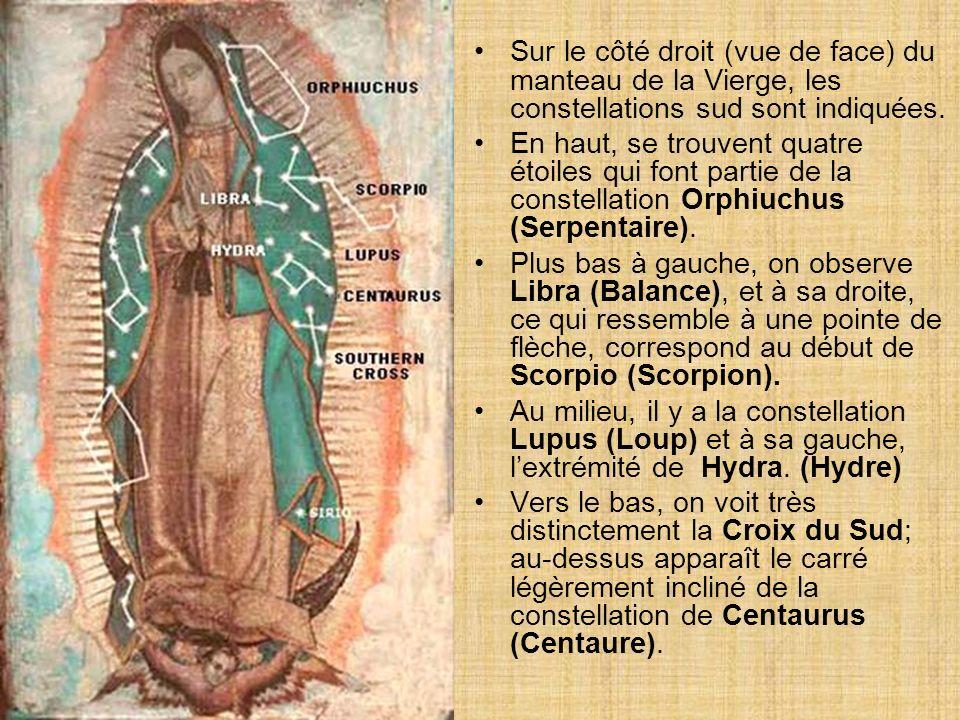 Sur le côté droit (vue de face) du manteau de la Vierge, les constellations sud sont indiquées.