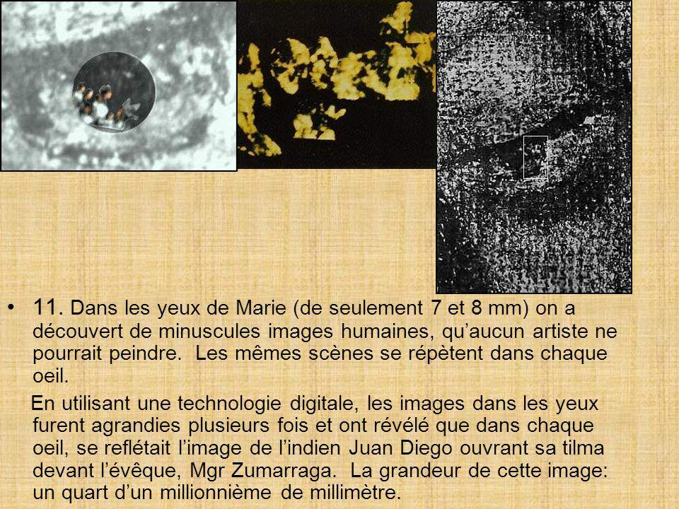 11. Dans les yeux de Marie (de seulement 7 et 8 mm) on a découvert de minuscules images humaines, qu'aucun artiste ne pourrait peindre. Les mêmes scènes se répètent dans chaque oeil.