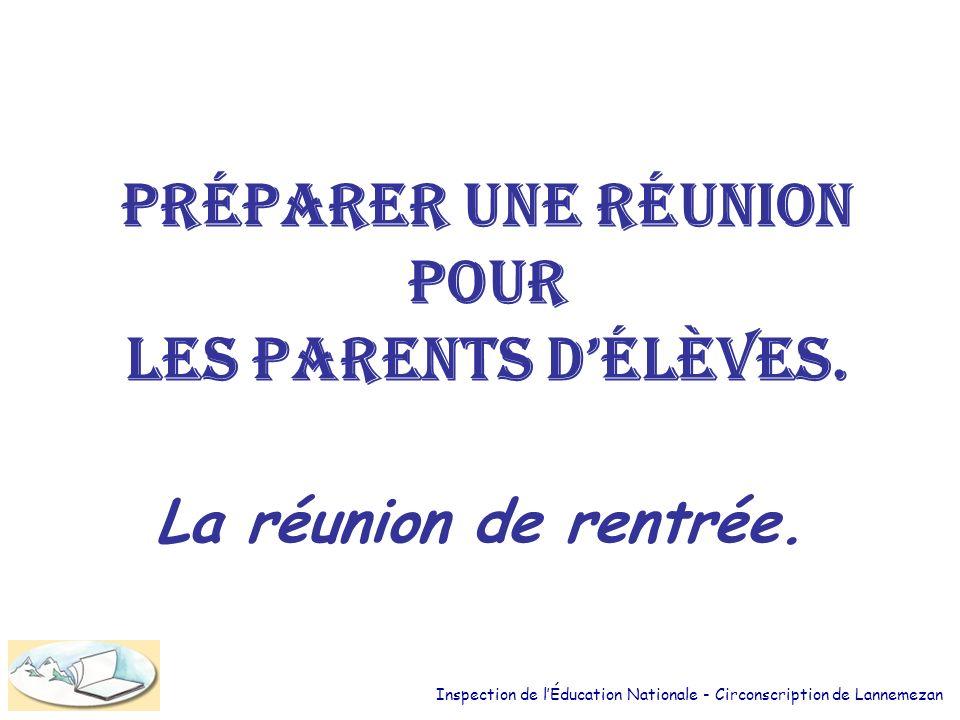 Préparer une réunion pour les parents d'élèves.