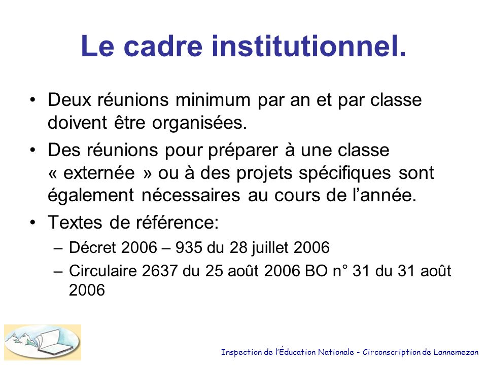 Le cadre institutionnel.