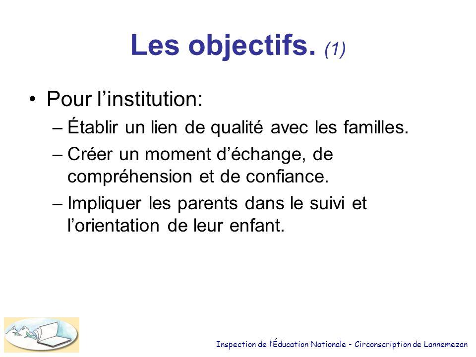 Les objectifs. (1) Pour l'institution: