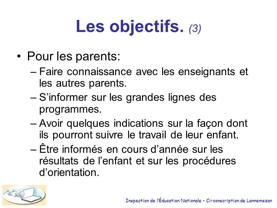 Les objectifs. (3) Pour les parents: