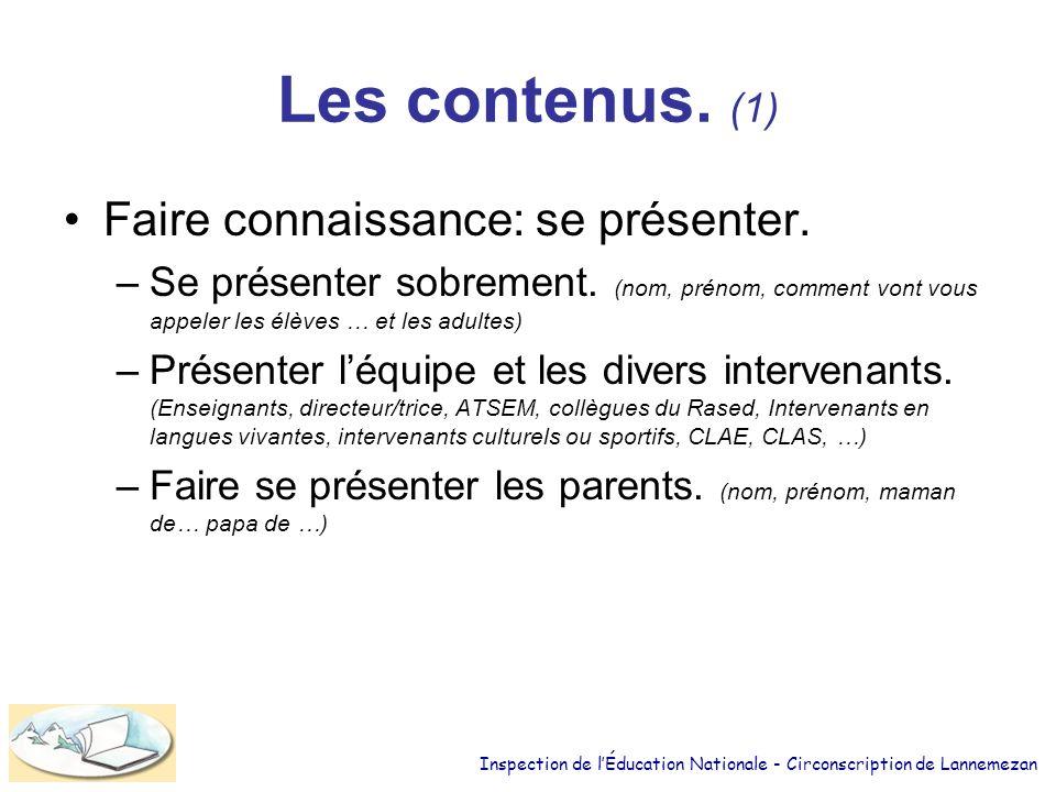 Les contenus. (1) Faire connaissance: se présenter.