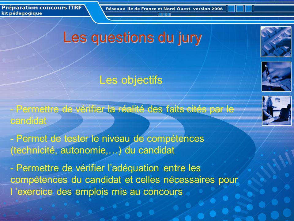 Les questions du jury Les objectifs