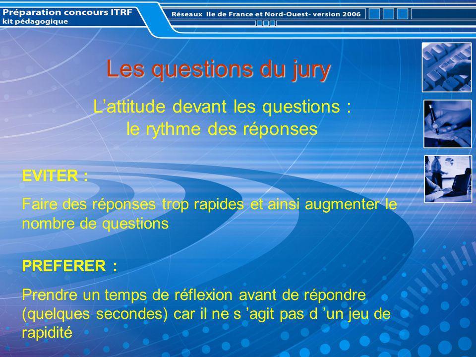 L'attitude devant les questions : le rythme des réponses