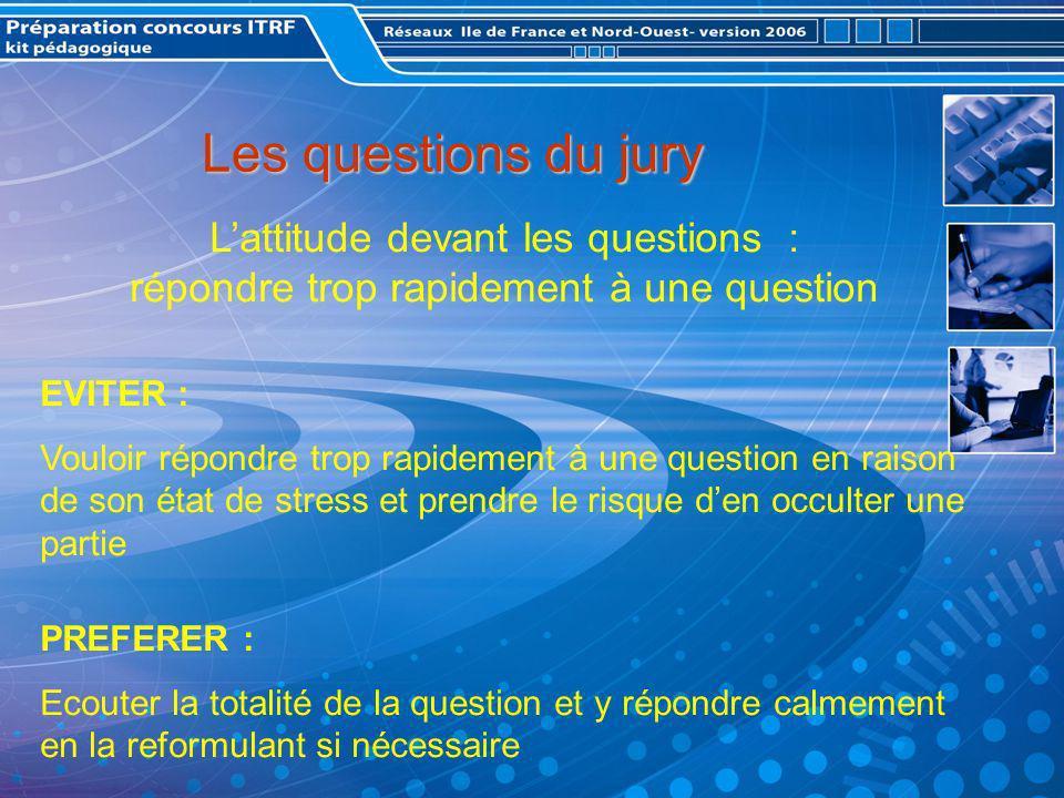 Les questions du jury L'attitude devant les questions : répondre trop rapidement à une question. EVITER :