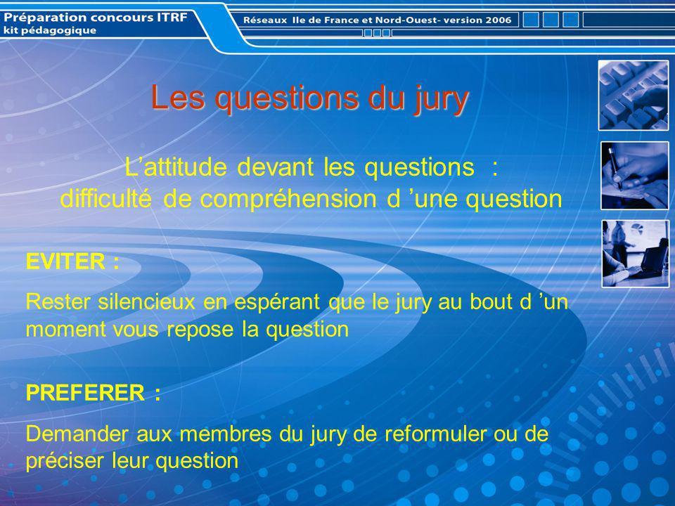 Les questions du jury L'attitude devant les questions : difficulté de compréhension d 'une question.
