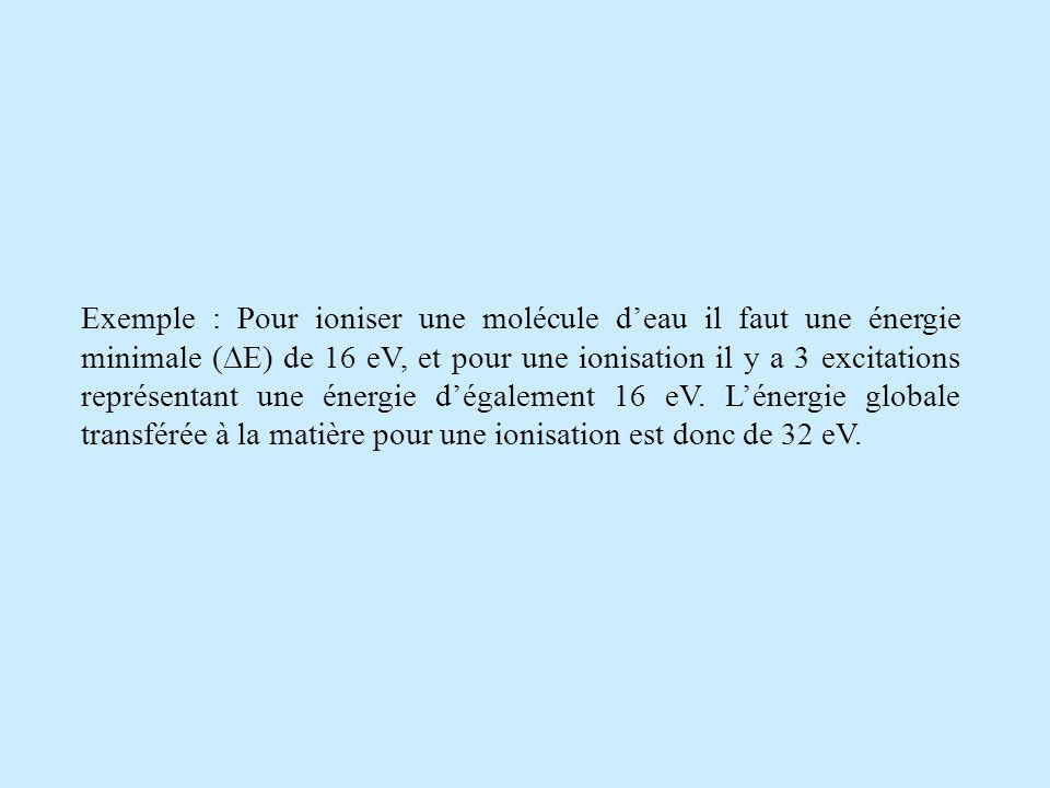 Exemple : Pour ioniser une molécule d'eau il faut une énergie minimale (E) de 16 eV, et pour une ionisation il y a 3 excitations représentant une énergie d'également 16 eV.