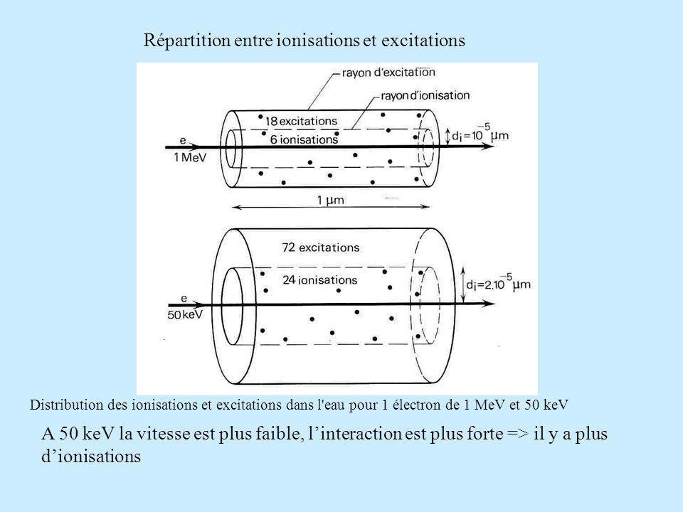 Répartition entre ionisations et excitations
