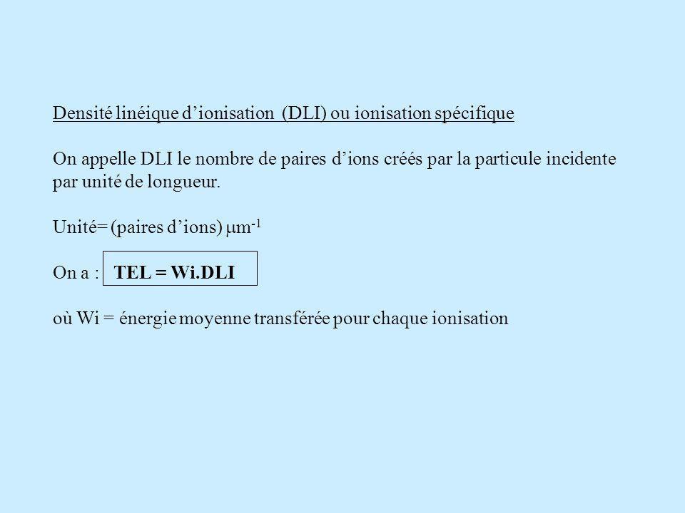 Densité linéique d'ionisation (DLI) ou ionisation spécifique