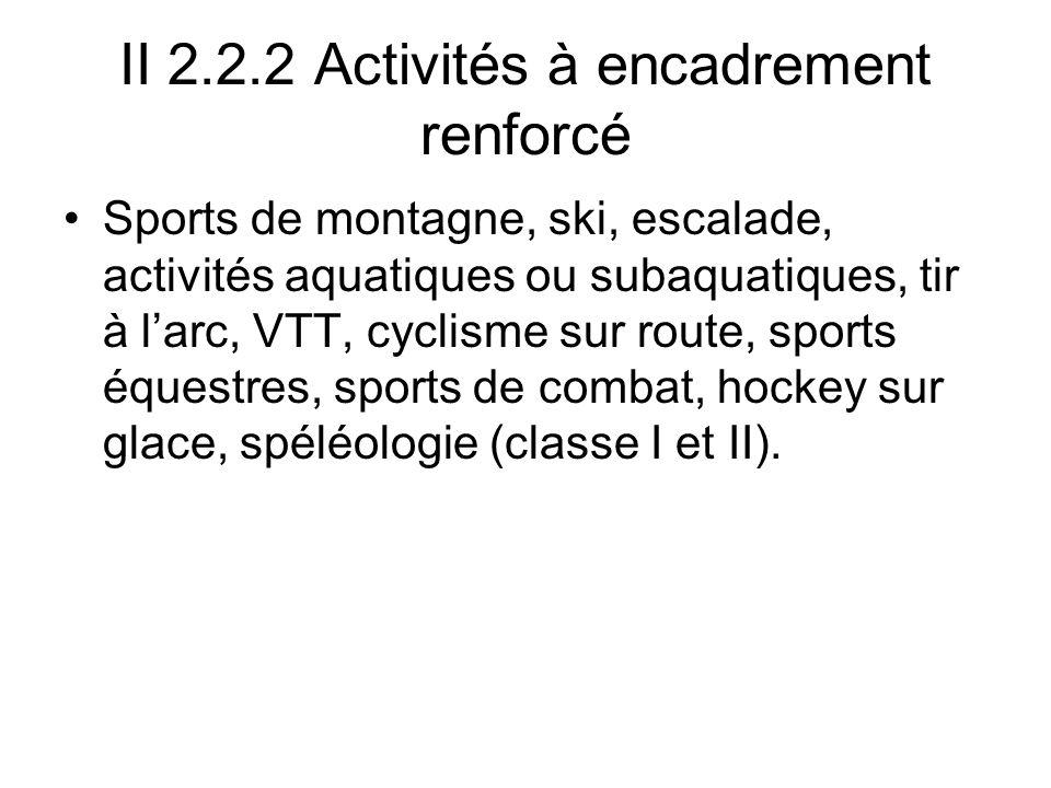 II 2.2.2 Activités à encadrement renforcé
