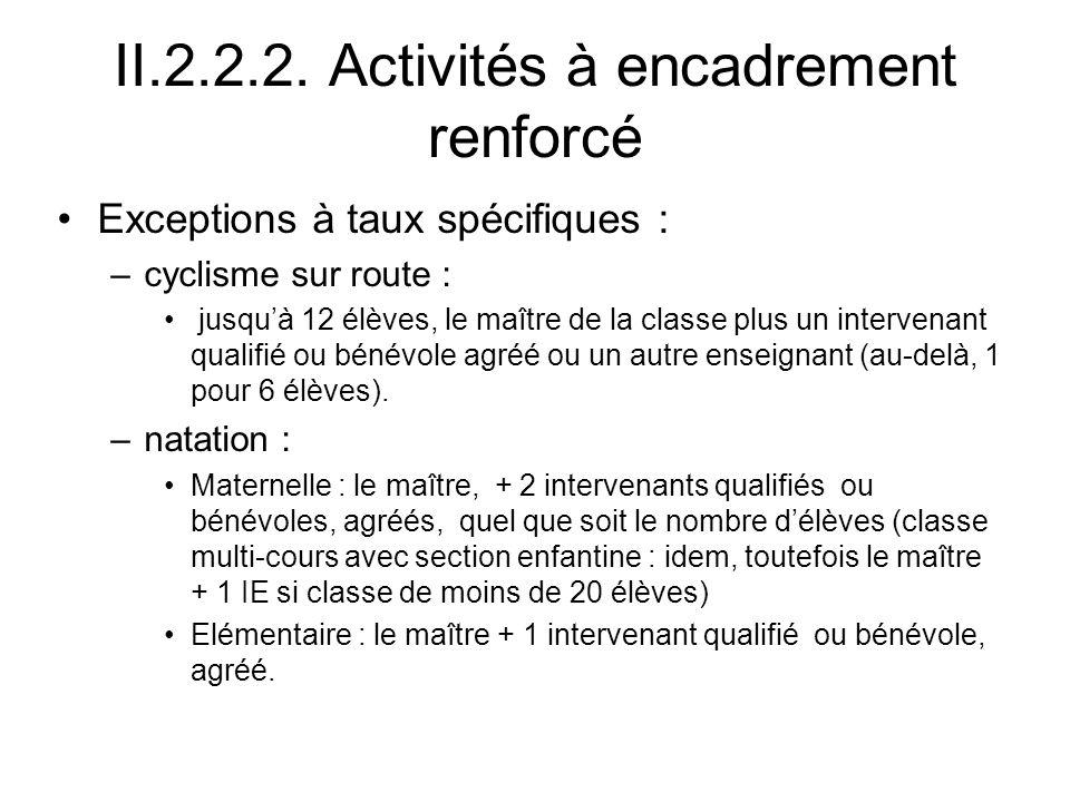 II.2.2.2. Activités à encadrement renforcé