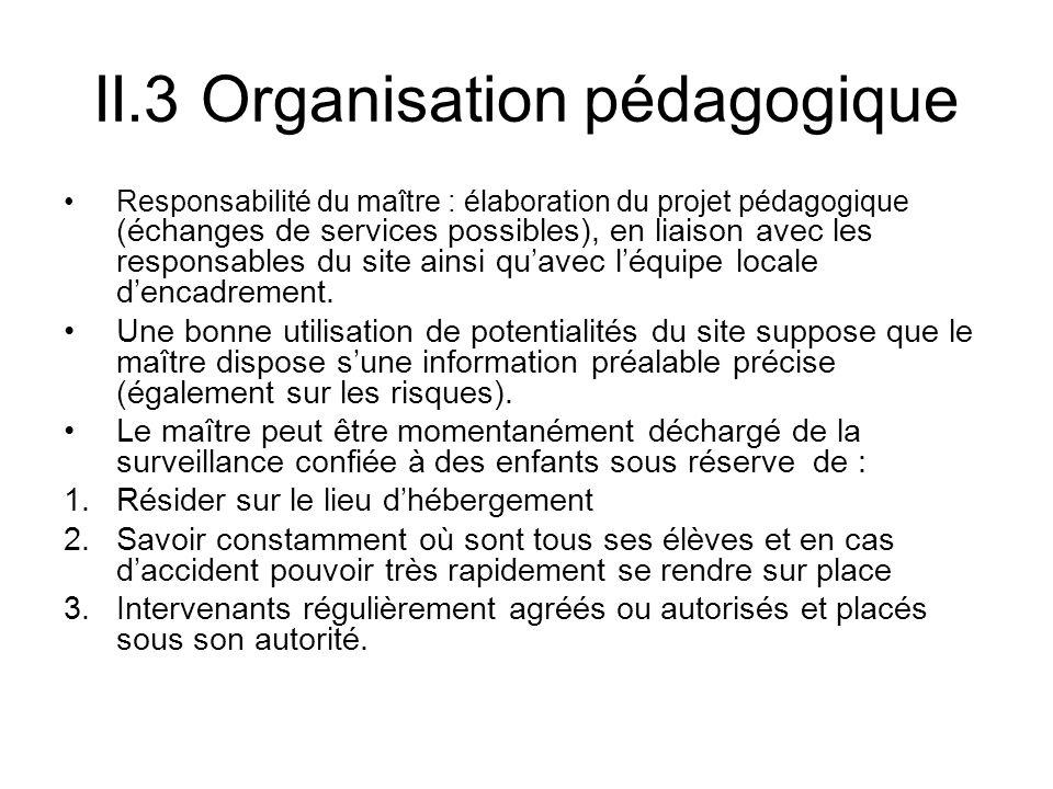 II.3 Organisation pédagogique