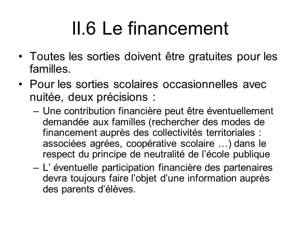 II.6 Le financement Toutes les sorties doivent être gratuites pour les familles.
