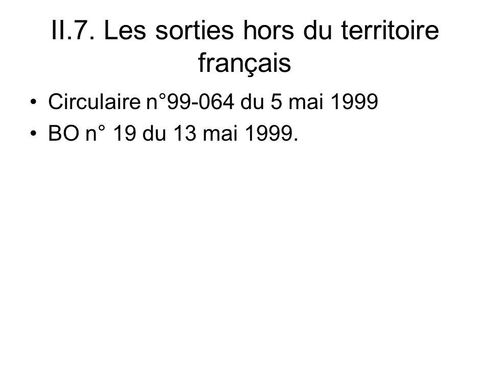 II.7. Les sorties hors du territoire français