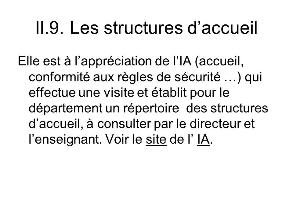 II.9. Les structures d'accueil