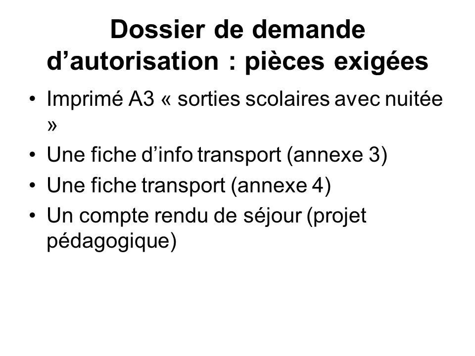 Dossier de demande d'autorisation : pièces exigées