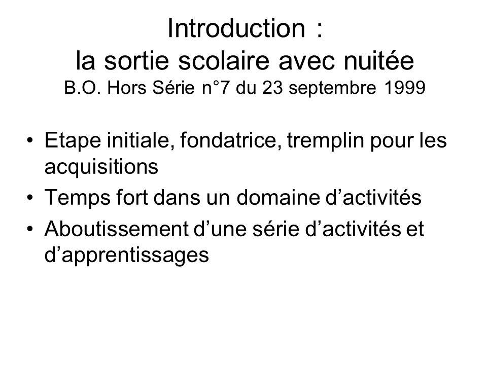 Introduction : la sortie scolaire avec nuitée B. O