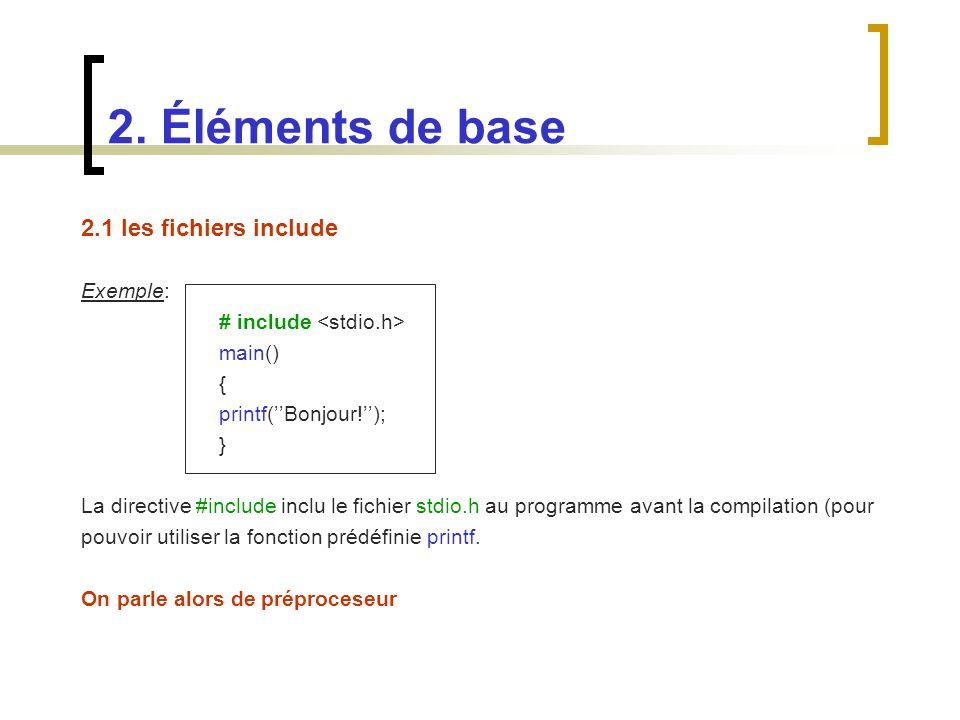 2. Éléments de base 2.1 les fichiers include Exemple: