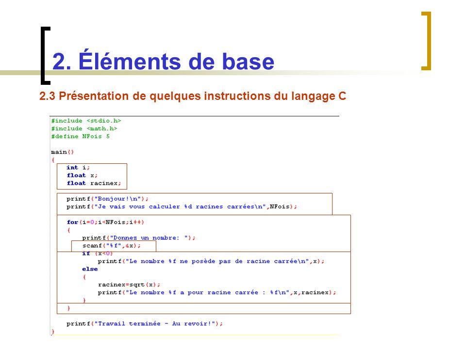 2. Éléments de base 2.3 Présentation de quelques instructions du langage C