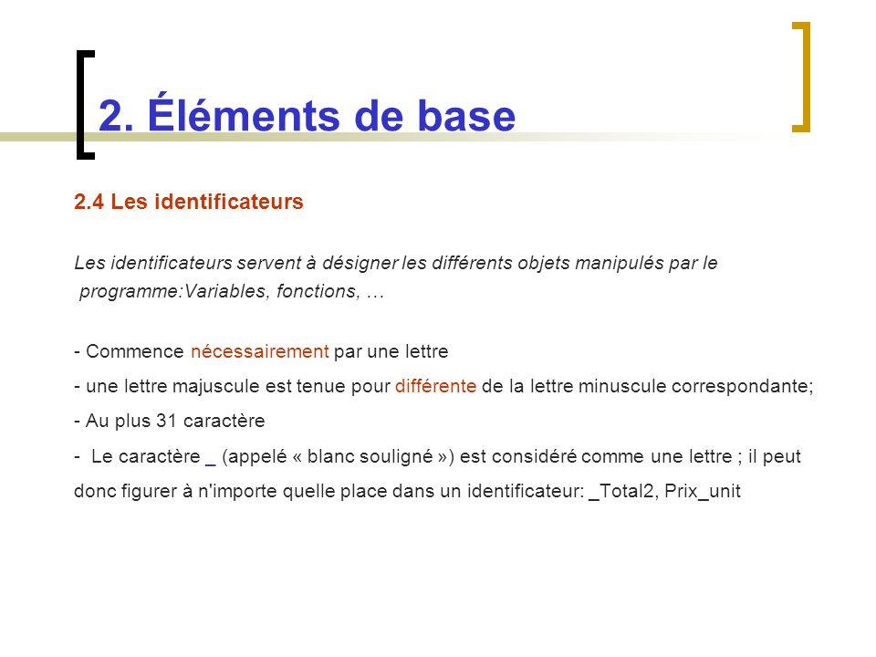 2. Éléments de base 2.4 Les identificateurs