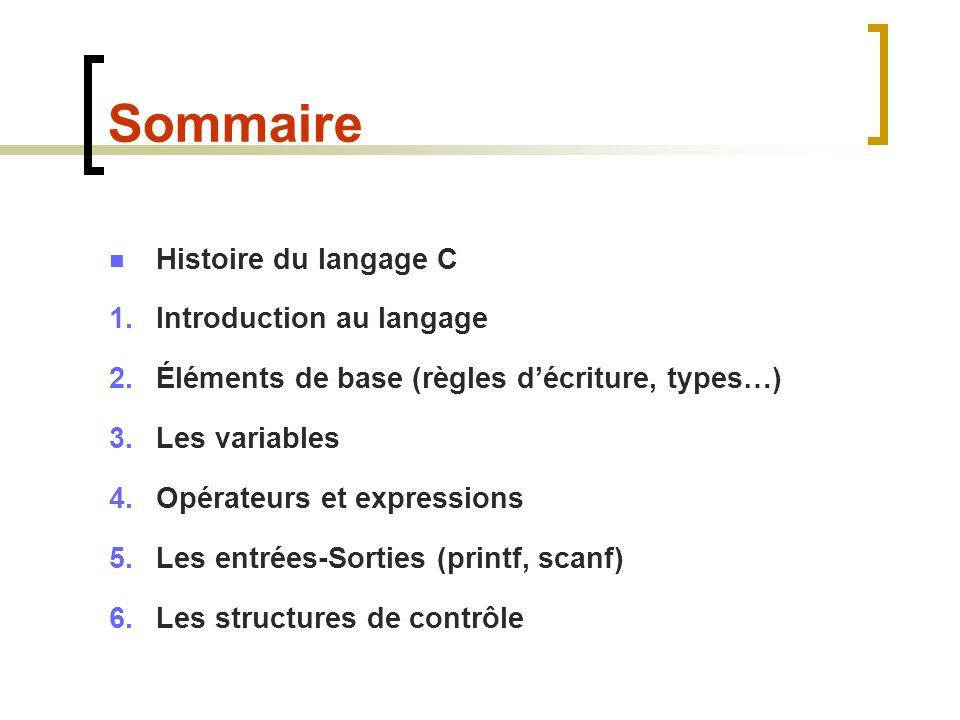 Sommaire Histoire du langage C Introduction au langage