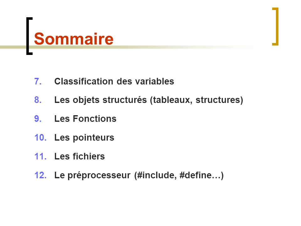 Sommaire Classification des variables