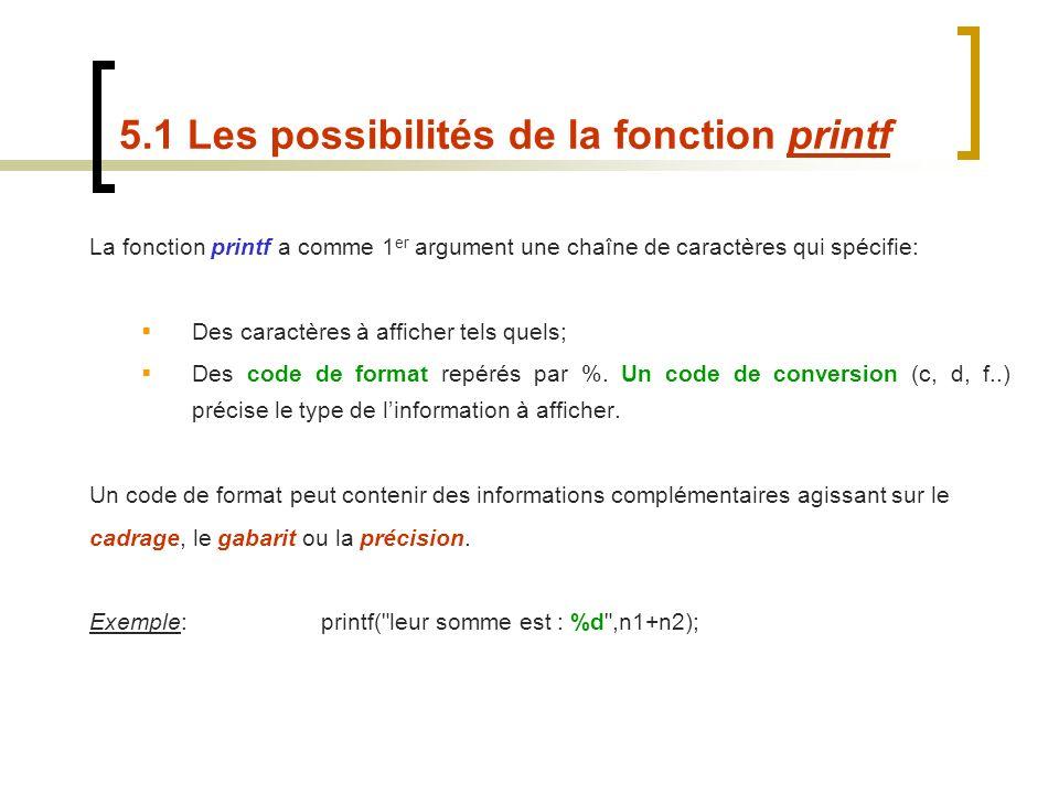5.1 Les possibilités de la fonction printf