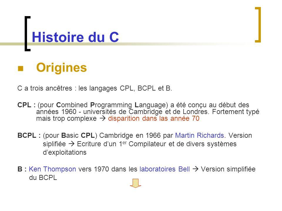 Histoire du C Origines. C a trois ancêtres : les langages CPL, BCPL et B.