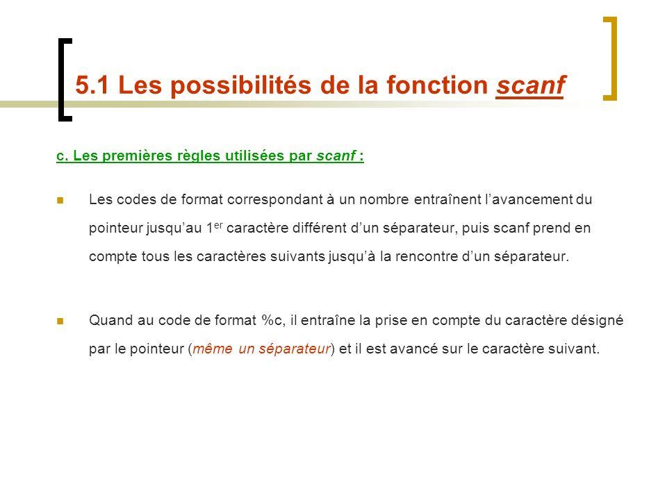 5.1 Les possibilités de la fonction scanf