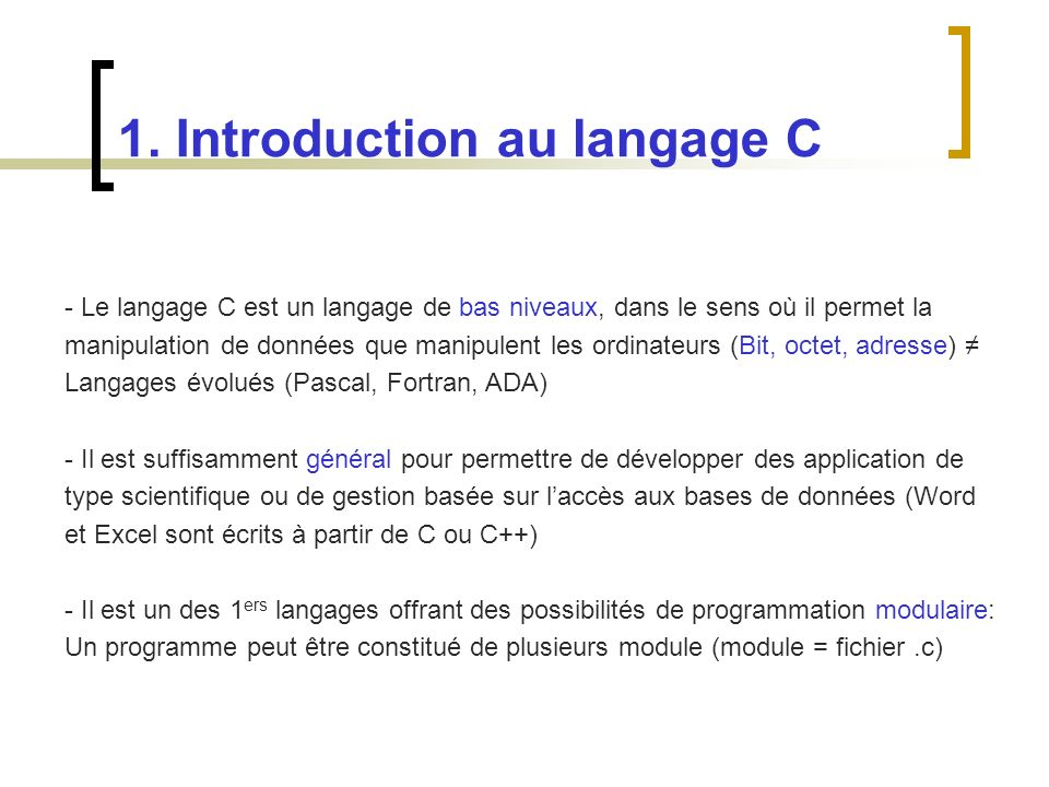 1. Introduction au langage C