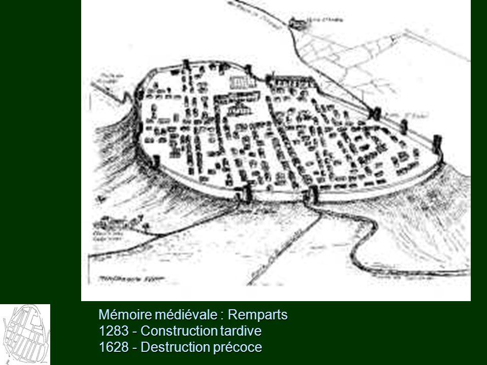 Mémoire médiévale : Remparts 1283 - Construction tardive 1628 - Destruction précoce
