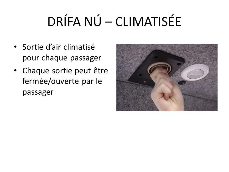 DRÍFA NÚ – CLIMATISÉE Sortie d'air climatisé pour chaque passager