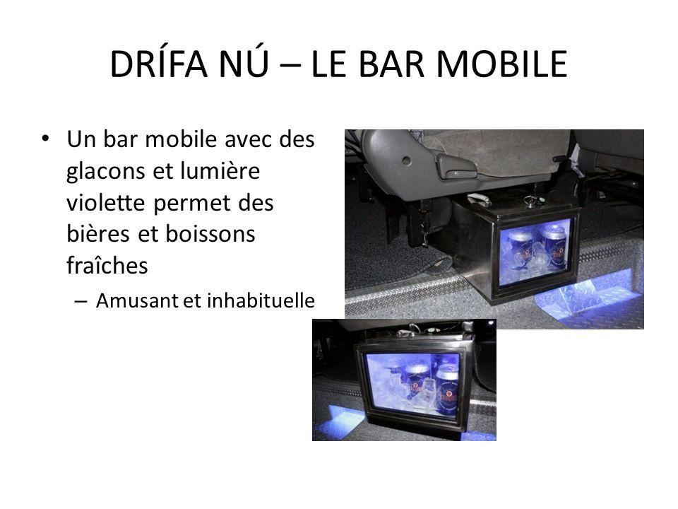 DRÍFA NÚ – LE BAR MOBILE Un bar mobile avec des glacons et lumière violette permet des bières et boissons fraîches.
