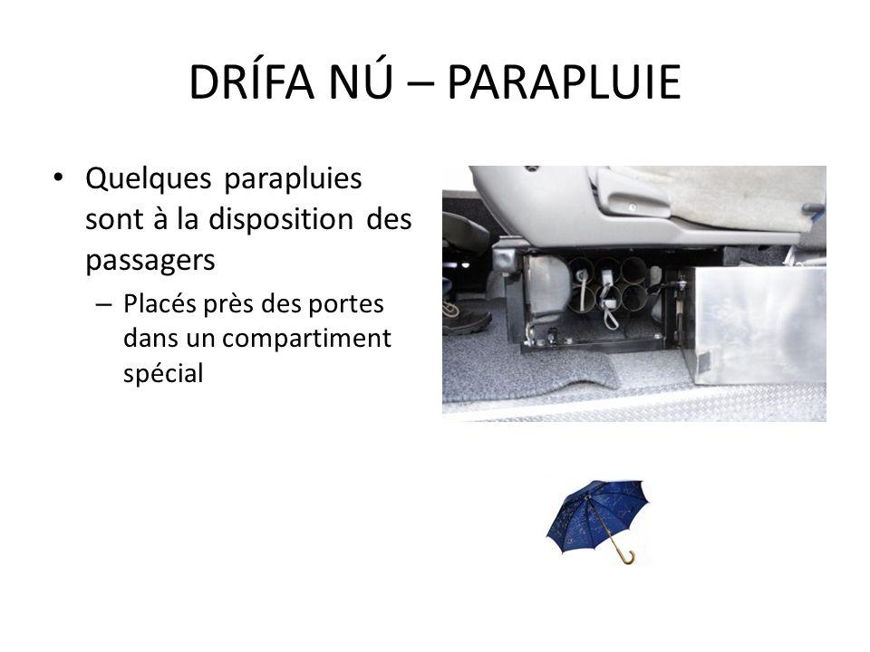 DRÍFA NÚ – PARAPLUIE Quelques parapluies sont à la disposition des passagers.